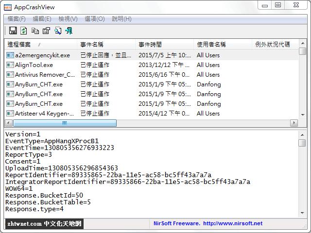 查看應用程式當機的詳細資訊 – AppCrashView 免安裝中文版