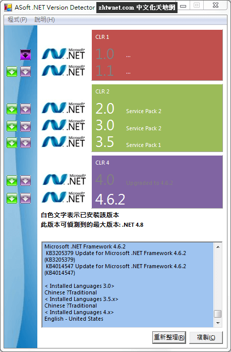 Asoft .NET Version Detector 檢查電腦安裝了什麼版本的 Microsoft .NET Framework