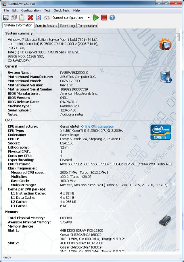 BurnInTest 9.0.1016 – 燒機測試程式,快速診斷電腦硬體有無故障