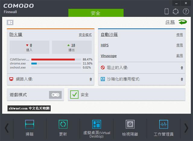 世界排名第一的免費防火牆 – Comodo Firewall 中文版