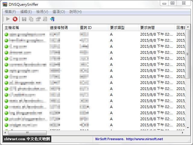 DNSQuerySniffer 1.80 免安裝中文版 – DNS 解析查詢監控工具