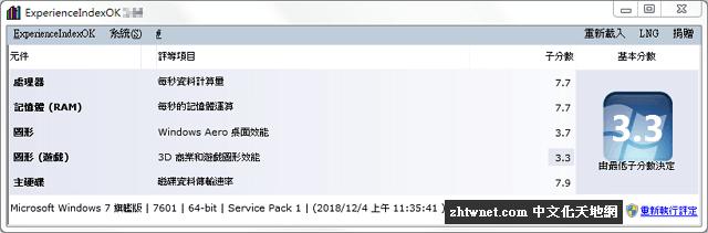 ExperienceIndexOK 3.11 免安裝中文版 – 測試系統效能,顯示Windows體驗指數