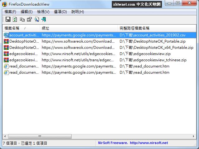 FirefoxDownloadsView 免安裝中文版 – 查看 Firefox 火狐瀏覽器下載記錄