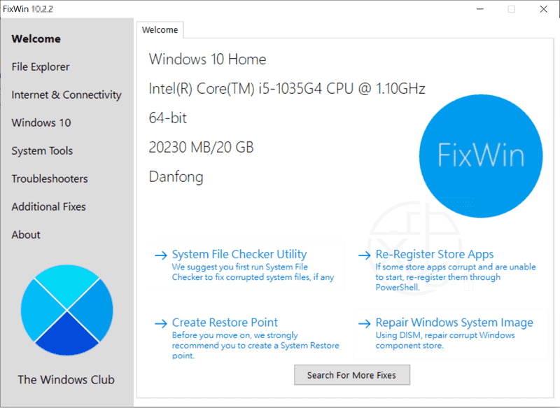 FixWin for Windows 10 10.2.2.0 – 一鍵修復 Win10 問題、錯誤