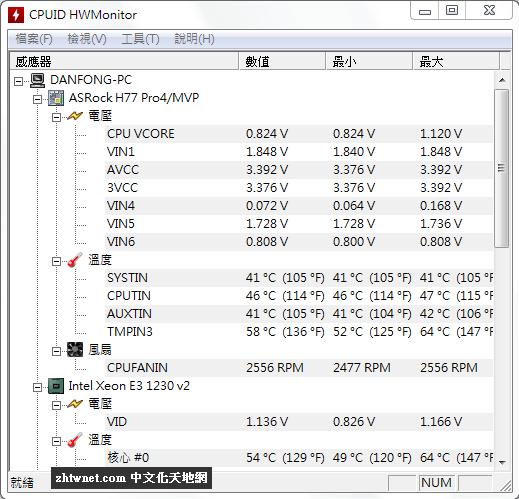 HWMonitor 1.41 免安裝中文版 – 電腦硬體監控軟體