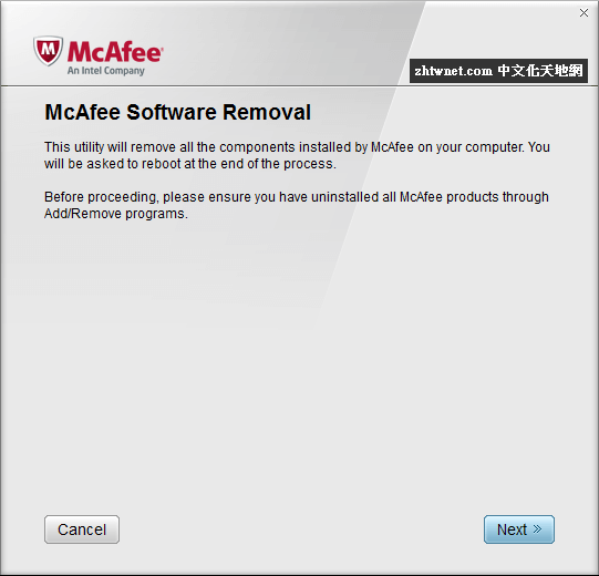 McAfee 產品移除工具 – McAfee Consumer Product Removal Tool 10.2.281.0