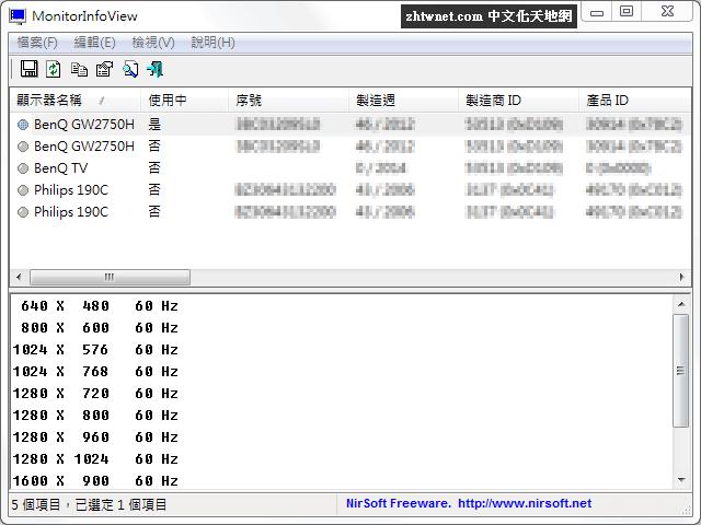 MonitorInfoView 1.22 免安裝中文版 – 顯示器資訊查看工具