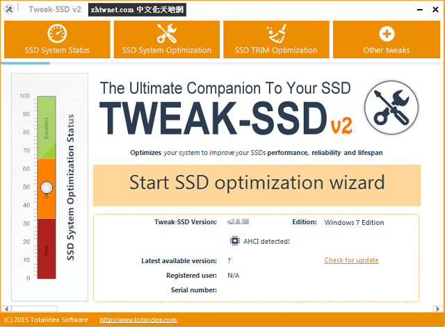 SSD固態硬碟優化工具 – Tweak-SSD 2.0.70