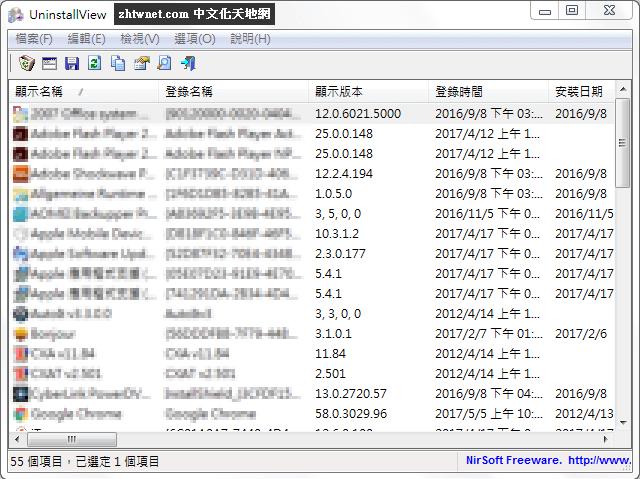 卸載已安裝在電腦上的程式 – UninstallView 1.31 免安裝中文版
