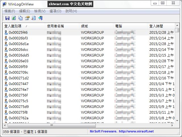 WinLogOnView 免安裝中文版 – 查看電腦登入、登出等相關資訊
